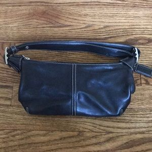Black leather small coach purse